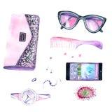 Vattenfärgteckningar: kvinnors saker telefon plånbok, exponeringsglas, hårborste, smycken, klockor royaltyfri illustrationer