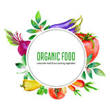 Vattenfärgtomat, morot, peppar, rödbeta, persilja, aubergine som isoleras på vit, hand dragen planlagd rund ram vektor illustrationer