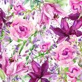 Vattenfärgträdgårdblommor bakgrundsbanret blommar datalistor little rosa spiral royaltyfri illustrationer