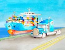 Vattenfärgtransportbegrepp av en blå behållarelastbil och en blå amerikansk halv-släp traktor utan en kropp mot arkivbild