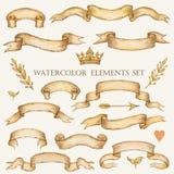 Vattenfärguppsättning av band royaltyfri illustrationer