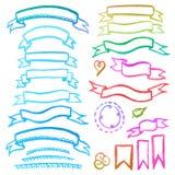 Vattenfärguppsättning av band Vektor Illustrationer