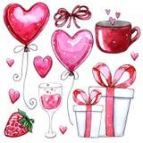 Vattenfärguppsättning av beståndsdelar för dag för valentin` s stock illustrationer