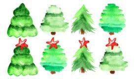 Vattenfärguppsättning av julträd stock illustrationer