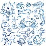 Vattenfärguppsättning av skaldjur Arkivfoton