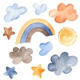 Vattenfärguppsättning av väderprognosen stock illustrationer