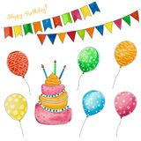 Vattenfärguppsättning för födelsedag och ferie Ballonger, kaka och flaggor för en partibakgrund vektor illustrationer