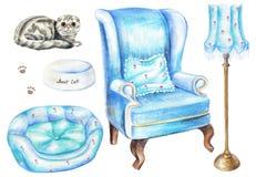 Vattenfärguppsättning med fåtöljen, golvlampan, katten, bunken och husdjursäng royaltyfri illustrationer