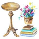 Vattenfärguppsättning med rund stol, krukan med blommor och böcker royaltyfri illustrationer