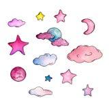 Vattenfärguppsättning med stjärnor, månen och moln royaltyfri illustrationer
