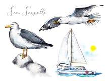 Vattenfärguppsättning med två seagulls och en yacht i havet stock illustrationer