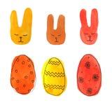 Vattenfärguppsättningeaster kanin och ägg royaltyfri illustrationer