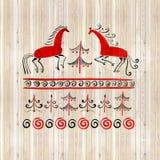 Vattenfärguppsättningen av handen drog dekorativa beståndsdelar i traditionella ryssfolk utformar mezen målningen Fotografering för Bildbyråer
