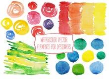 Vattenfärgvektorbeståndsdelar för formgivare Fotografering för Bildbyråer