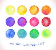 Vattenfärgvektorcirklar Royaltyfri Bild