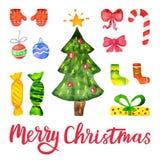 Vattenfärgvektorjul och garneringbeståndsdelar för nytt år Uppsättningen av handen dragen glad jul planlägger beståndsdelar för Royaltyfri Bild