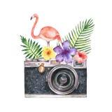 Vattenfärgvektorkort med kameran, palmträdet, blommor, tropiska sidor och rosa flamingo som isoleras på vit bakgrund stock illustrationer