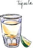 Vattenfärgvektortequila med limefrukt Arkivfoto