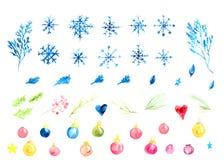 Vattenfärgvektoruppsättning av julgarnering med snöflingor Filialer och bollar royaltyfri illustrationer