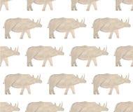 Vattenfärgvilda djur av africa - noshörning tecknad hand stock illustrationer