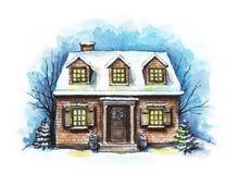 Vattenfärgvinterhus i snön royaltyfri illustrationer