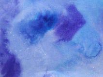Vattenfärgviolett-blått bakgrund stock illustrationer