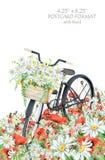 Vattenfärgvykortmall med den svarta cykel- och blommakorgen Royaltyfria Bilder