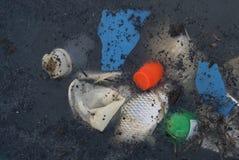 Vattenförorening i Thailand plast- avskräde, döda vatten- djur i kloakmiljöproblem arkivfoton