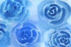 vattenf?rgbakgrundsillustration Blåa oskarpa rosor för vattenfärg stock illustrationer