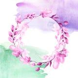 Vattenf?rgbukett av blommor, h?rlig abstrakt f?rgst?nk av m?larf?rg, pil, vallmo, kamomill vektor illustrationer