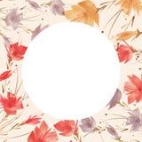Vattenf?rgbukett av blommor, h?rlig abstrakt f?rgst?nk av m?larf?rg, pil, vallmo, kamomill royaltyfri illustrationer