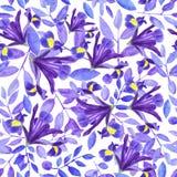 Vattenf?rgbukett av iriers, den utdragna blom- illustrationen f?r hand, bl?a blommor och sidor p? vit bakgrund stock illustrationer
