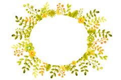 Vattenf?rgillustration med bildramarna fr?n blommor, ris och sidor, gr?nt och apelsin, f?r designen av baner, affischer vektor illustrationer