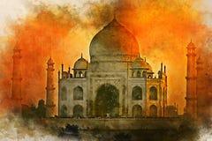 Vattenf?rgm?lning av Taj Mahal den sceniska solnedg?ngsikten i Agra, Indien royaltyfri illustrationer