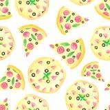 Vattenf?rgmodell med pizza, pizzaskivor, pizzainskrift royaltyfri illustrationer
