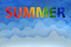 Vattenf?rgsommarillustration Hand-målad regnbågeinskriftsommar stock illustrationer