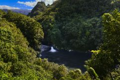 Vattenfall av Bassin La Mer, Reunion Island Royaltyfri Foto