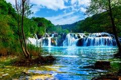 Vattenfall av Krkaen royaltyfri foto