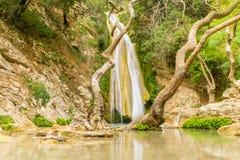 Vattenfall av Neda i Peloponnese i Grekland En mytisk vattenfall Royaltyfri Foto