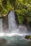 Vattenfall Banias naturreserv i Israel Arkivfoto