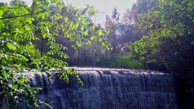 Vattenfall bland träden arkivfoton