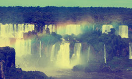 Vattenfall Cataratas del Iguazu på den Iguazu floden, Brasilien Fotografering för Bildbyråer