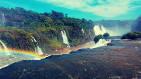 Vattenfall Cataratas del Iguazu på den Iguazu floden, Brasilien Arkivfoto