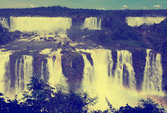 Vattenfall Cataratas del Iguazu på den Iguazu floden, Brasilien Royaltyfria Bilder