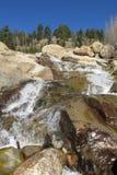 Vattenfall för alluvial fan på Rocky Mountain National Park Royaltyfri Fotografi