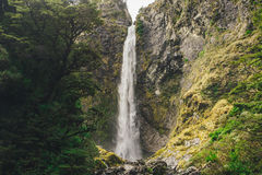 Vattenfall för jäkel` s Punchbowl i nationalparken för passerande för Arthur ` s, Nya Zeeland Royaltyfria Foton