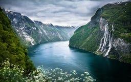 Vattenfall för sju syster i Norge Royaltyfria Bilder