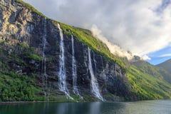 Vattenfall för sju systrar i den Geiranger fjorden Royaltyfria Bilder