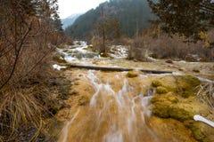Vattenfall från en klippa i skogen royaltyfri bild