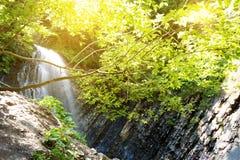 Vattenfall i den djupa mossaskogen, ren adn som är ny i Carpathians Arkivfoto
